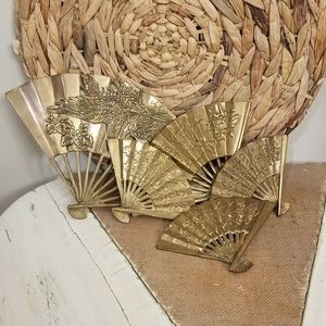 Vintage | Set (5) Brass Dragon Fans